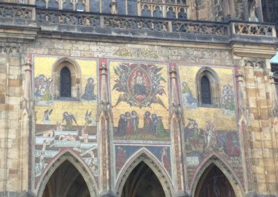 Ornate Mural on St. Vitus Cathedral in Prague